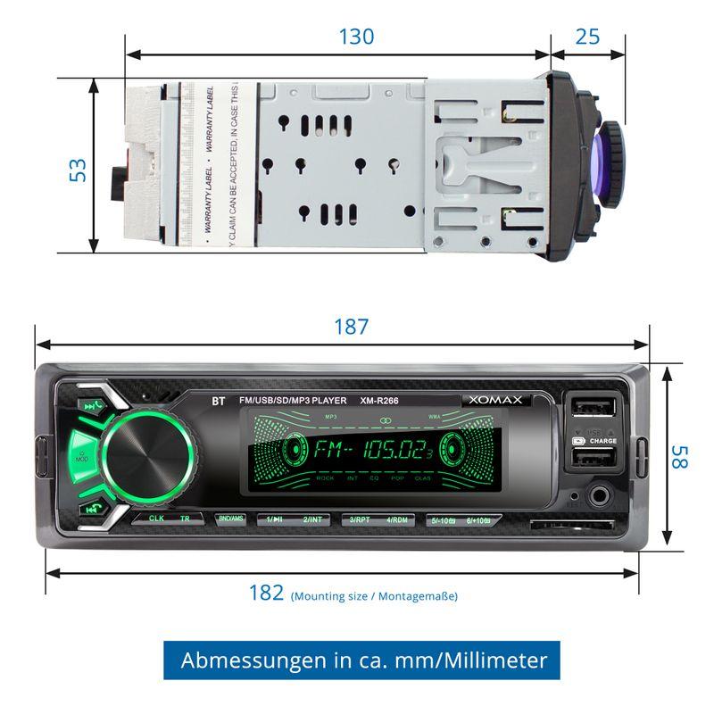 XOMAX XM-R266: 1DIN, Autoradio mit Bluettoth, USB, AUX IN, ohne Laufwerk – Bild 6