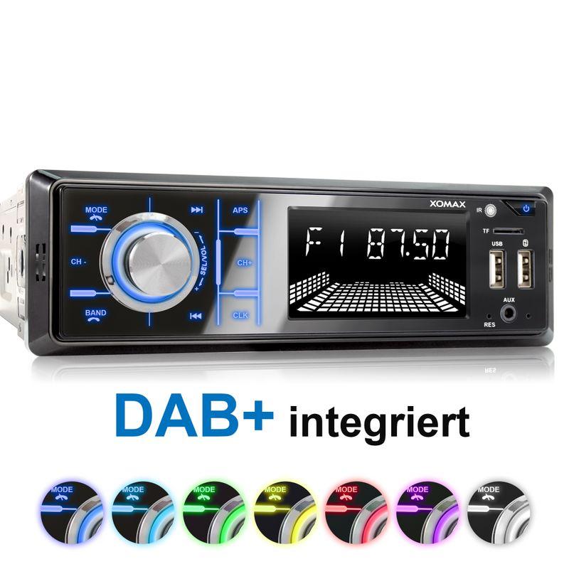 XOMAX XM-RD267: 1DIN, Autoradio mit DAB+, Bluettoth, FlashXO, USB, AUX IN, ohne Laufwerk