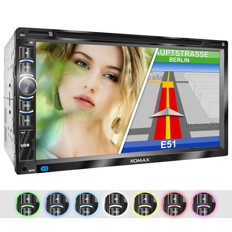 "XOMAX XM-2DN6906 L2 2DIN Autoradio mit 6,95"" kapazitivem Touchscreen Monitor, DVD-Laufwerk, Micro SD und USB (B-Ware) – Bild 1"