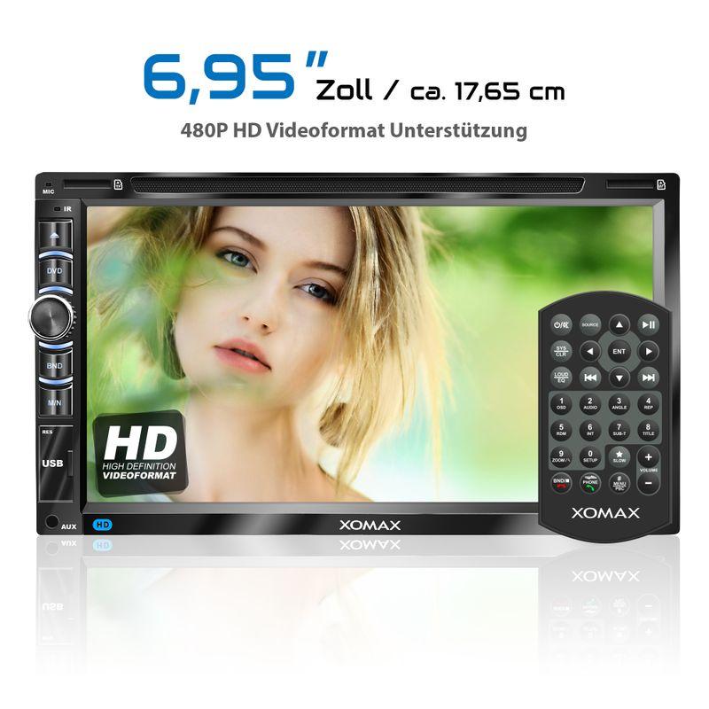 "XOMAX XM-2DN6906 L2 2DIN Autoradio mit 6,95"" kapazitivem Touchscreen Monitor, DVD-Laufwerk, Micro SD und USB (B-Ware) – Bild 2"