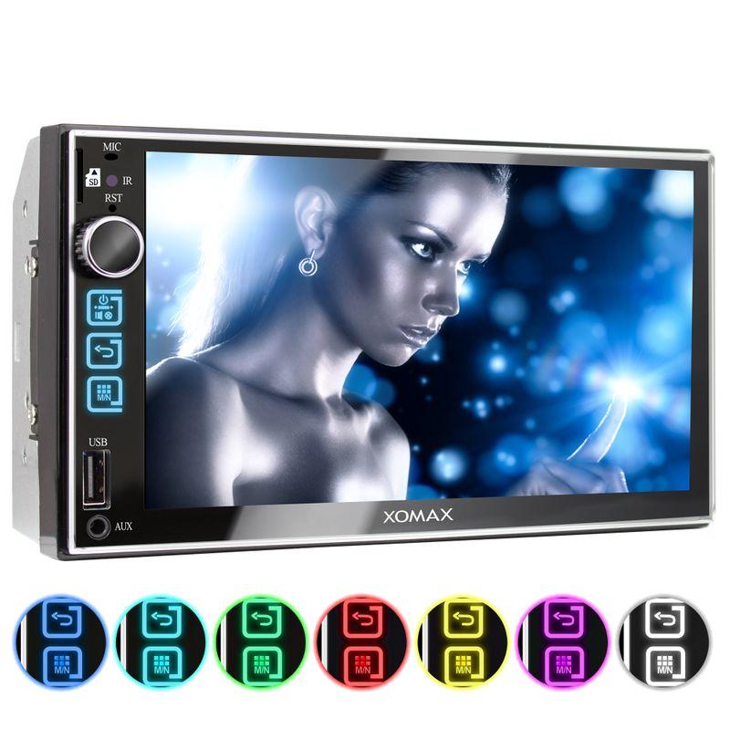 XOMAX XM-2V753 2DIN Autoradio mit 7'' Zoll Touchscreen Monitor, AUX-IN, SD, USB und BLUETOOTH – Bild 1