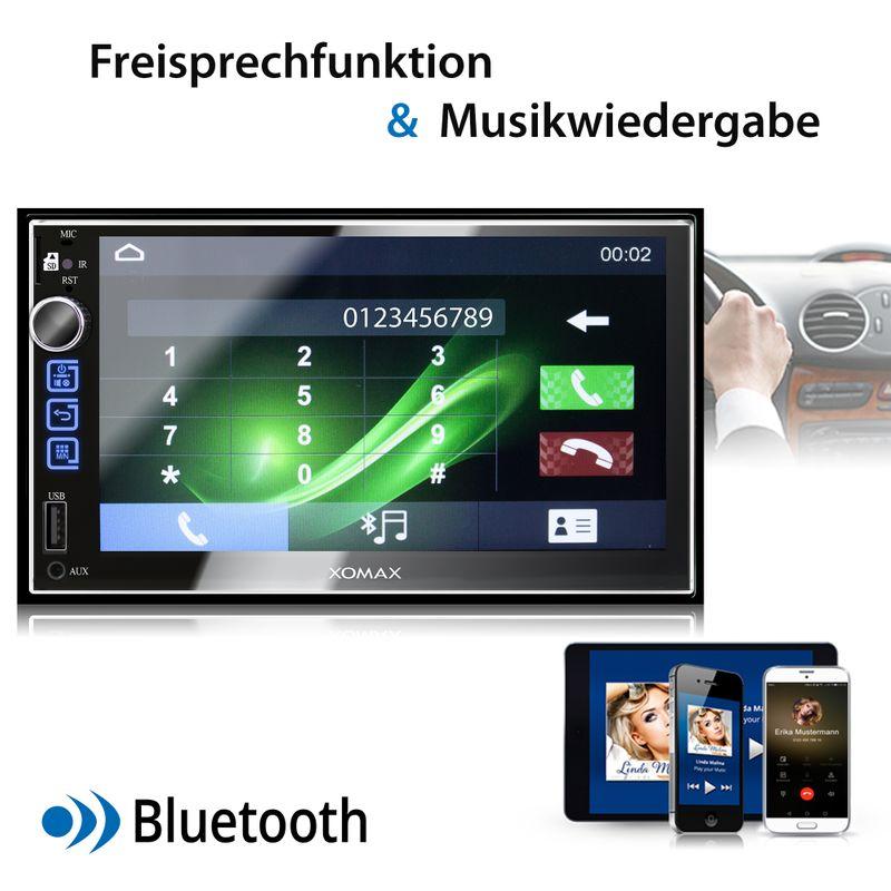 XOMAX XM-2V753 2DIN Autoradio mit 7'' Zoll Touchscreen Monitor, AUX-IN, SD, USB und BLUETOOTH – Bild 8
