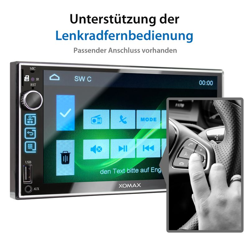 XOMAX XM-2V753 2DIN Autoradio mit 7'' Zoll Touchscreen Monitor, AUX-IN, SD, USB und BLUETOOTH – Bild 10