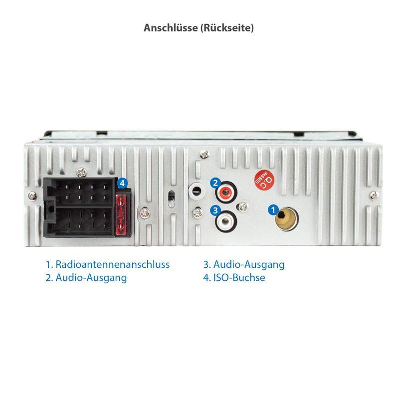 XOMAX XM-R271: 1DIN, Autoradio mit Bluettoth, FlashXO, USB, AUX IN, ohne Laufwerk – Bild 4