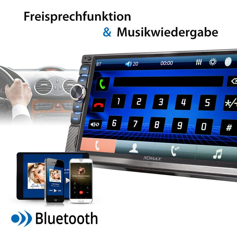 XOMAX XM-2V719 2DIN Autoradio mit Mirrorlink, 7'' Zoll Touchscreen Monitor, AUX-IN, SD, USB und BLUETOOTH – Bild 7