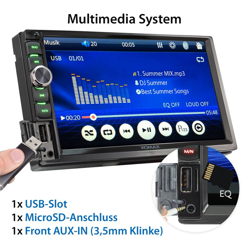 XOMAX XM-2V719 2DIN Autoradio mit Mirrorlink, 7'' Zoll Touchscreen Monitor, AUX-IN, SD, USB und BLUETOOTH – Bild 3