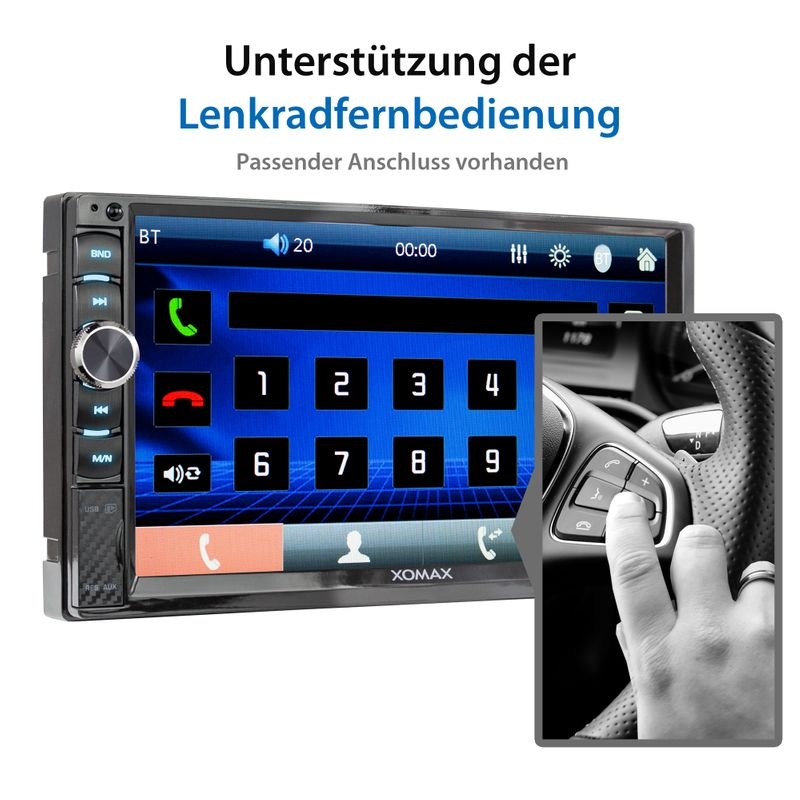 XOMAX XM-2V719 2DIN Autoradio mit Mirrorlink, 7'' Zoll Touchscreen Monitor, AUX-IN, SD, USB und BLUETOOTH – Bild 9