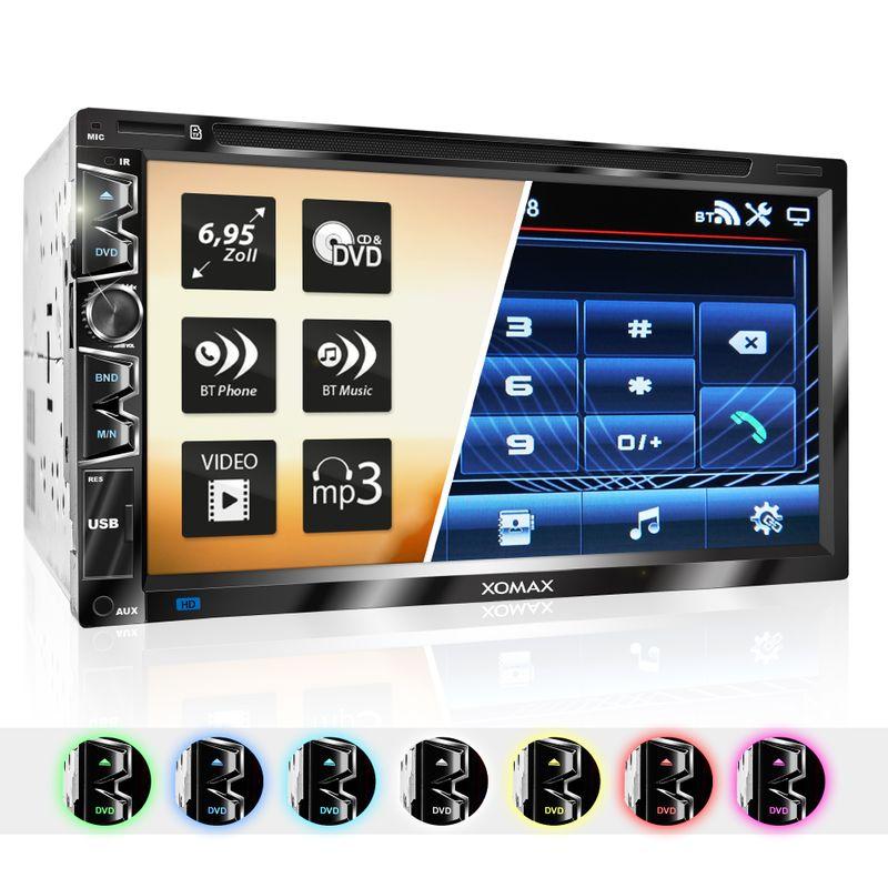 "XOMAX XM-2D6907 2DIN Autoradio mit USB Mirrorlink, 6,95"" kapazitivem Touchscreen Monitor, DVD-Laufwerk, Micro SD und USB"