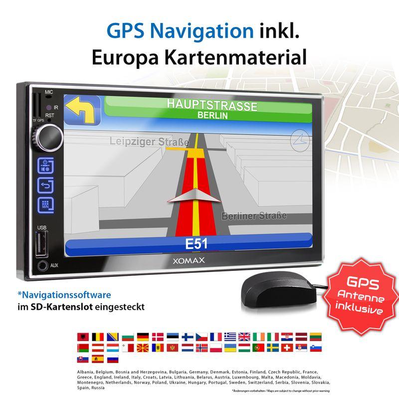 XOMAX XM-2VN752 2DIN Navi Autoradio mit GPS, SD, USB und BLUETOOTH – Bild 2