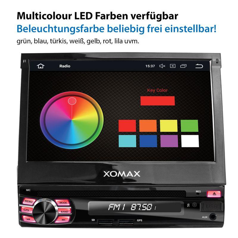 XOMAX XM-DA708: 1DIN Autoradio mit Android 8.1 Navi 7 Zoll Touchscreen Monitor, Bluetooth, DVD, CD, SD und USB – Bild 7