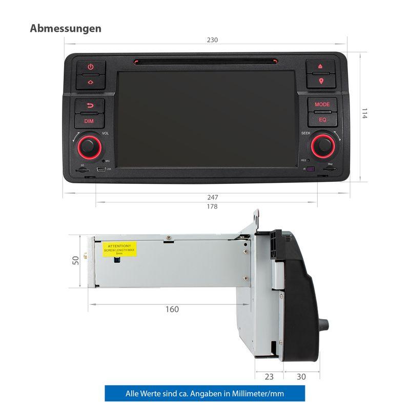 XOMAX XM-70BA: 1DIN Autoradio mit Android 9 Navi 7 Zoll Touchscreen Monitor, Bluetooth, DVD, CD, SD und USB (passend für BMW E46) – Bild 9