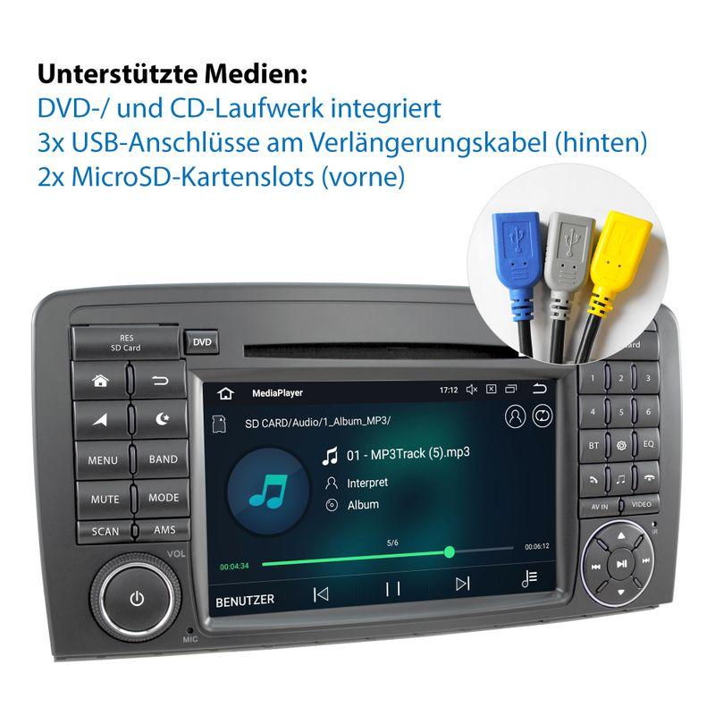 XOMAX XM-09ZA: 2DIN Autoradio mit Android 8.1 Navi 7 Zoll Touchscreen Monitor, Bluetooth, DVD, CD, SD und USB (passend für Mercedes)   – Bild 2
