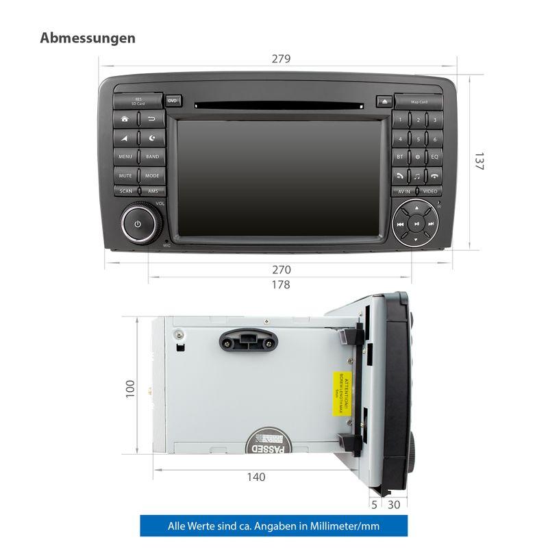 XOMAX XM-09ZA: 2DIN Autoradio mit Android 9 Navi 7 Zoll Touchscreen Monitor, Bluetooth, DVD, CD, SD und USB (passend für Mercedes)   – Bild 9