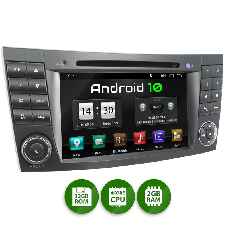 XOMAX XM-08ZA: 2DIN Autoradio mit Android 10 Navi 7 Zoll Touchscreen Monitor, Bluetooth, DVD, CD, SD und USB (passend für Mercedes)