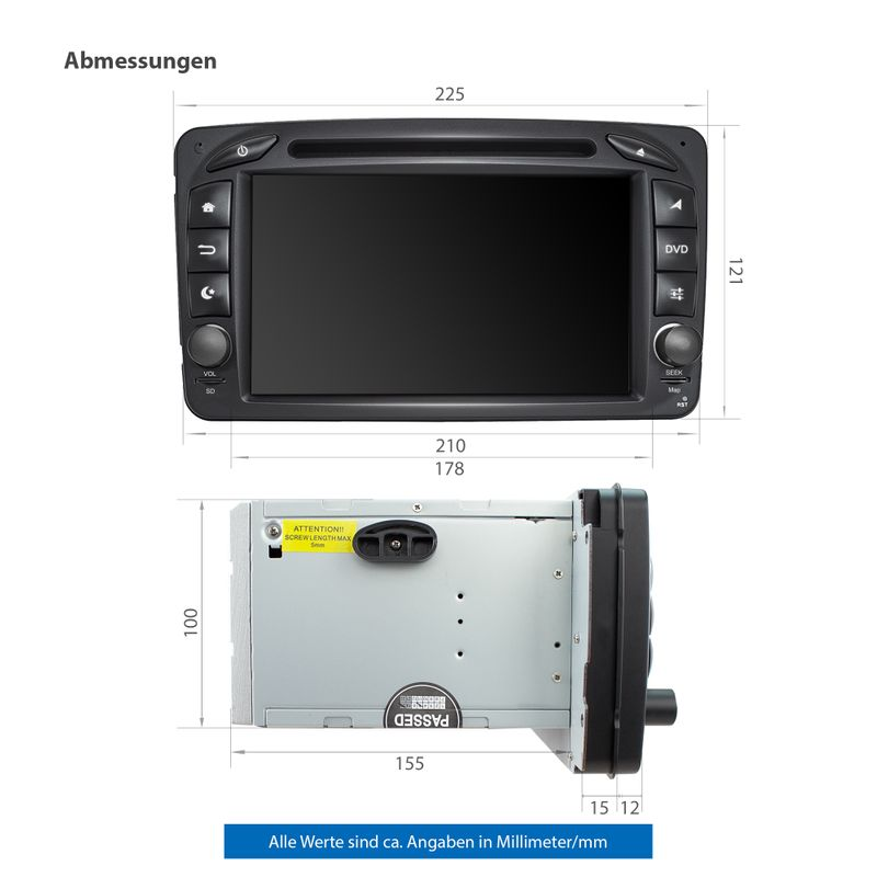 XOMAX XM-07ZA: 2DIN Autoradio mit Android 10 Navi 7 Zoll Touchscreen Monitor, Bluetooth, DVD, CD, SD und USB (passend für Mercedes) – Bild 9