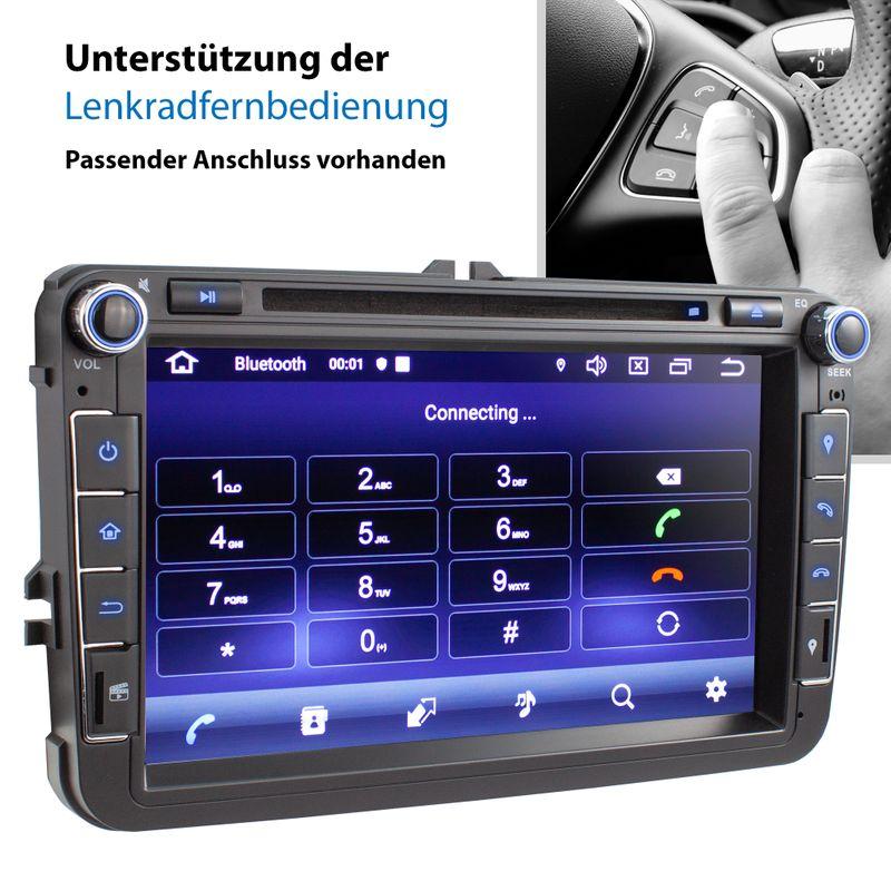 XOMAX XM-11GA: 2DIN Autoradio mit Android 8.1 Navi 8 Zoll Touchscreen Monitor, Bluetooth, DVD, CD, SD und USB (passend für VW/SKODA/SEAT)  – Bild 8