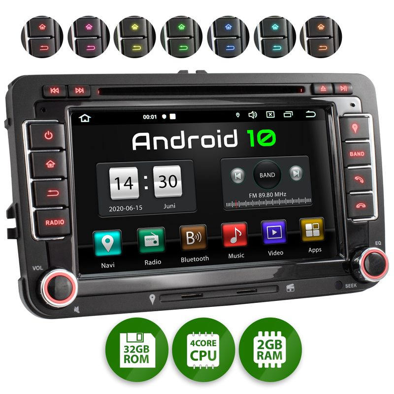 XOMAX XM-10GA: 2DIN Autoradio mit Android 8.1 Navi 7 Zoll Touchscreen Monitor, Bluetooth, DVD, CD, SD und USB (passend für VW/SKODA/SEAT)  – Bild 1