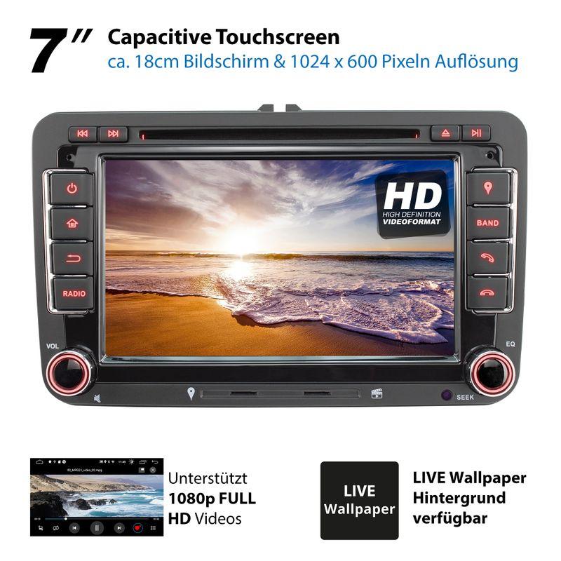 XOMAX XM-10GA: 2DIN Autoradio mit Android 8.1 Navi 7 Zoll Touchscreen Monitor, Bluetooth, DVD, CD, SD und USB (passend für VW/SKODA/SEAT)  – Bild 12