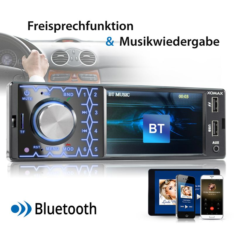 XOMAX XM-V419: 1DIN Moniceiver mit Bluettoth, FlashXO, USB, AUX IN, ohne Laufwerk – Bild 7