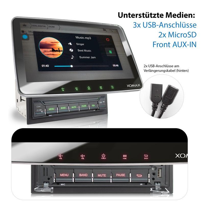 XOMAX XM-2VA1007: 2DIN Autoradio mit Android 9 Navi 10,1 Zoll Touchscreen Monitor, Bluetooth, SD und USB  – Bild 2