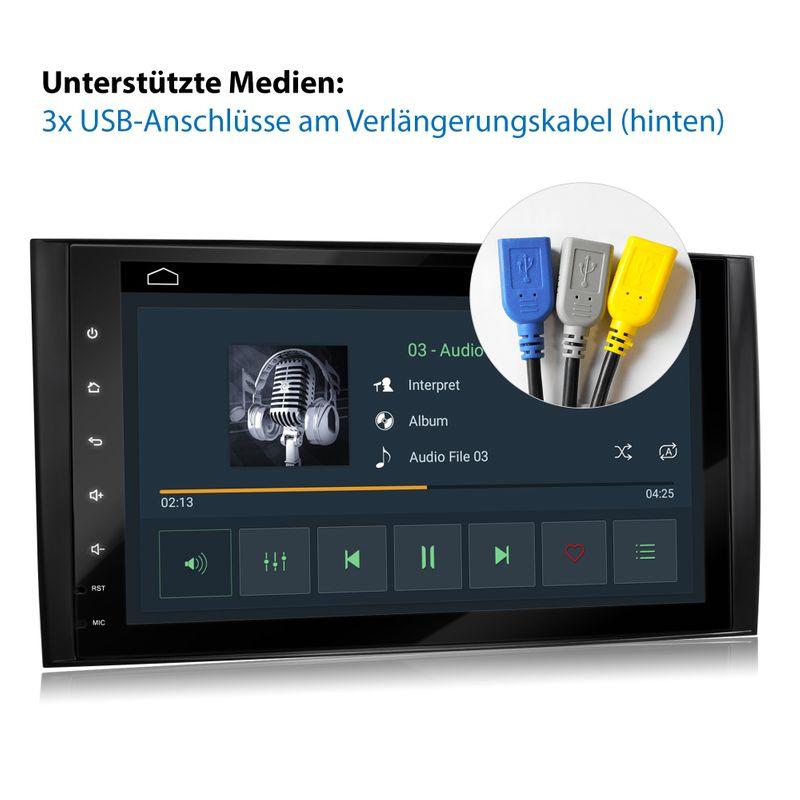 XOMAX XM-V11ZA: 2DIN Autoradio mit Android 10 Navi 9 Zoll Touchscreen Monitor, Bluetooth und USB (passend für Mercedes A/B-Klasse) – Bild 2