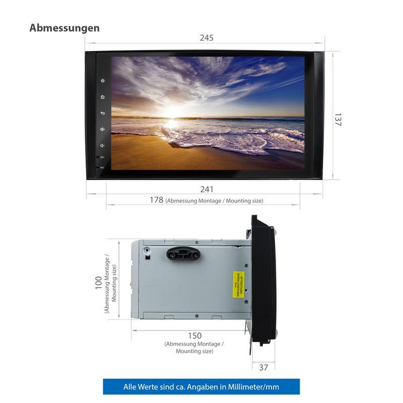 XOMAX XM-V11ZA: 2DIN Autoradio mit Android 10 Navi 9 Zoll Touchscreen Monitor, Bluetooth und USB (passend für Mercedes A/B-Klasse) – Bild 9