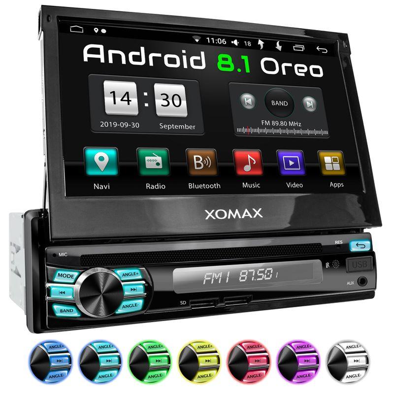 XOMAX XM-DA708: 1DIN Android 8.1 Navi Autoradio mit 7 Zoll Touchscreen Monitor, Bluetooth, DVD-Laufwerk, SD und USB (B-Ware)