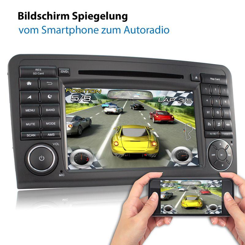 XOMAX XM-09ZA: 2DIN Autoradio mit Android 9 Navi 7 Zoll Touchscreen Monitor, Bluetooth, DVD, CD, SD und USB (passend für Mercedes W164)   – Bild 5