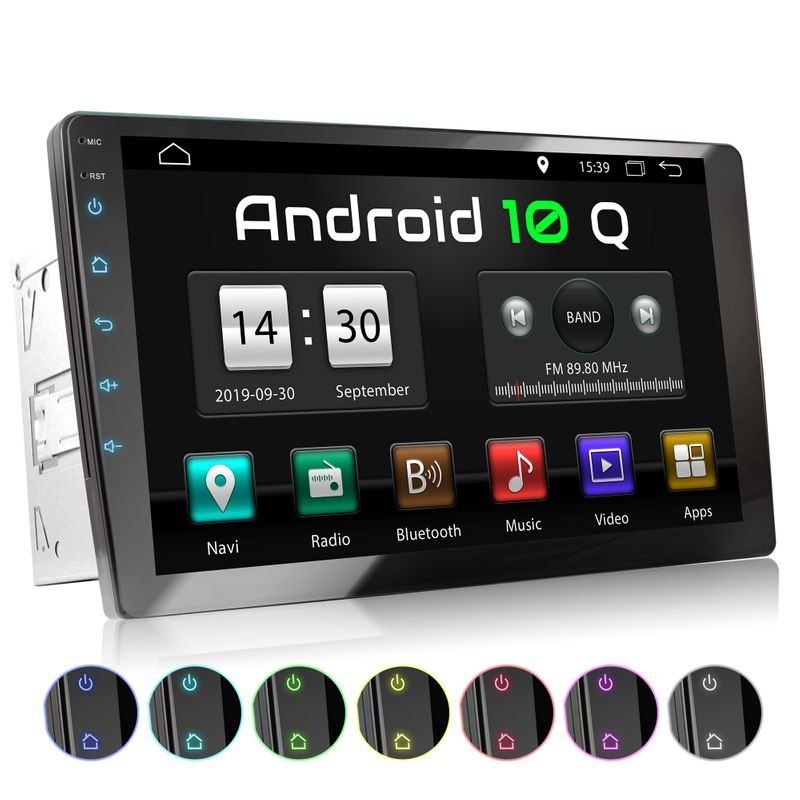 XOMAX XM-2VA1001: 2DIN Autoradio mit Android 10 Navi 10 Zoll XXL Touchscreen Monitor, Bluetooth und USB