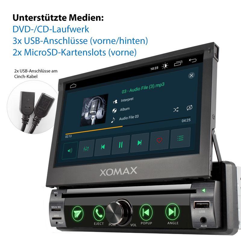 XOMAX XM-DA759: 1DIN Autoradio mit Android 10 Navi 7 Zoll Touchscreen Monitor, Bluetooth, DVD, CD, SD und USB  – Bild 2