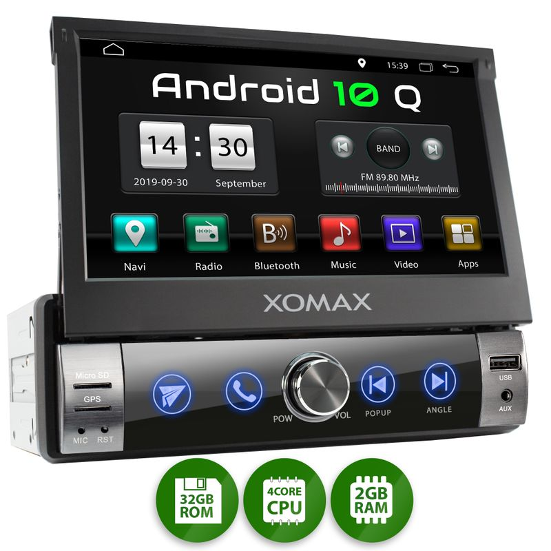 XOMAX XM-VA760: 1DIN Autoradio mit Android 10 Navi 7 Zoll Touchscreen Monitor, Bluetooth, SD und USB – Bild 1