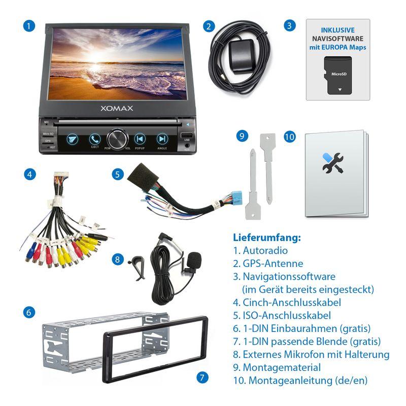 XOMAX XM-DN763 1DIN Navi Autoradio mit GPS, SD, USB und BLUETOOTH (B-Ware) – Bild 2