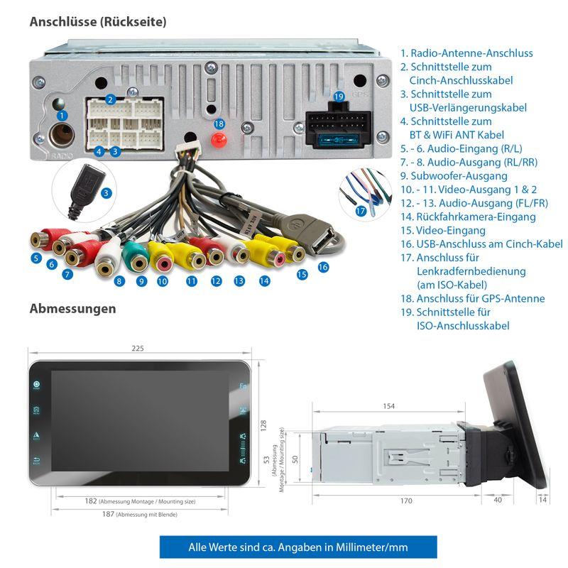 XOMAX XM-VA801: 1DIN Autoradio mit Android 10 Navi 8 Zoll Touchscreen Monitor, Bluetooth, SD und USB  – Bild 10