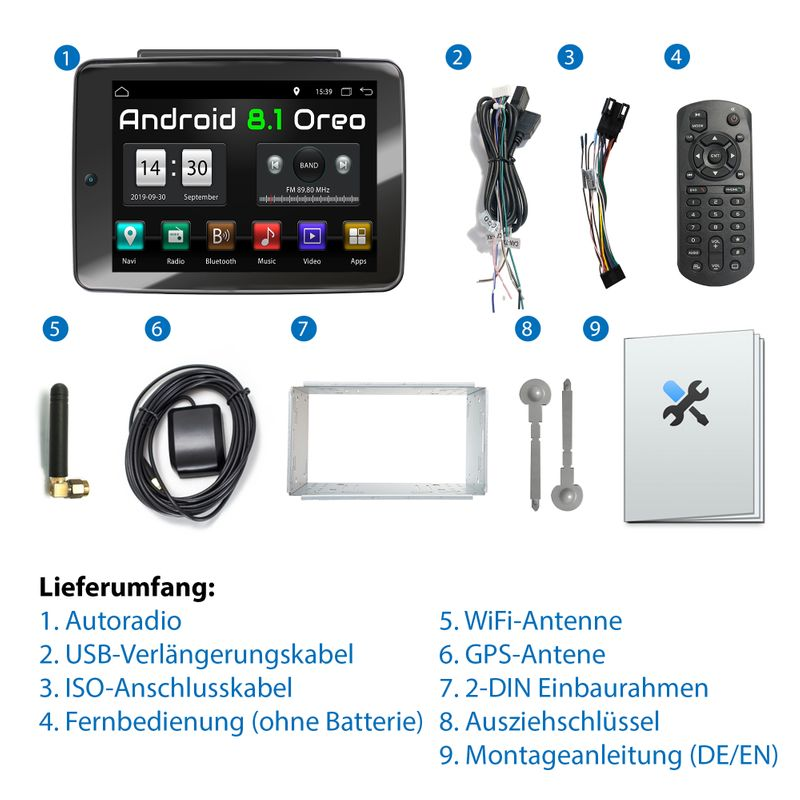 XOMAX XM-2DA1092: 2DIN Autoradio mit Android 8.1 Navi 10,9 Zoll IPS XXL IPS Touchscreen Monitor, Bluetooth, SD, USB, DVD, CD  – Bild 3