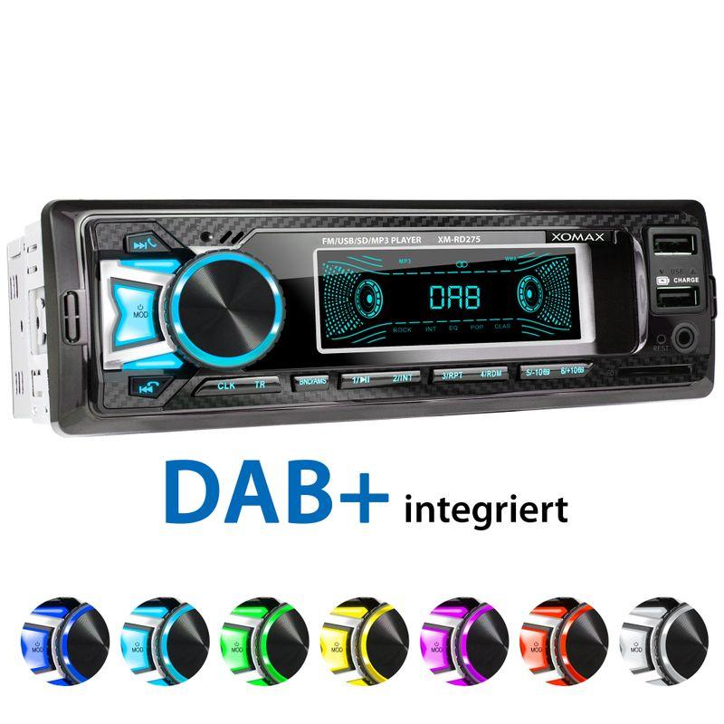 XOMAX XM-RD275: 1DIN, Autoradio mit DAB+, Bluetooth, USB, AUX IN, ohne Laufwerk – Bild 1