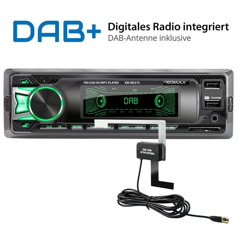 XOMAX XM-RD275: 1DIN, Autoradio mit DAB+, Bluetooth, USB, AUX IN, ohne Laufwerk (B-Ware) – Bild 2