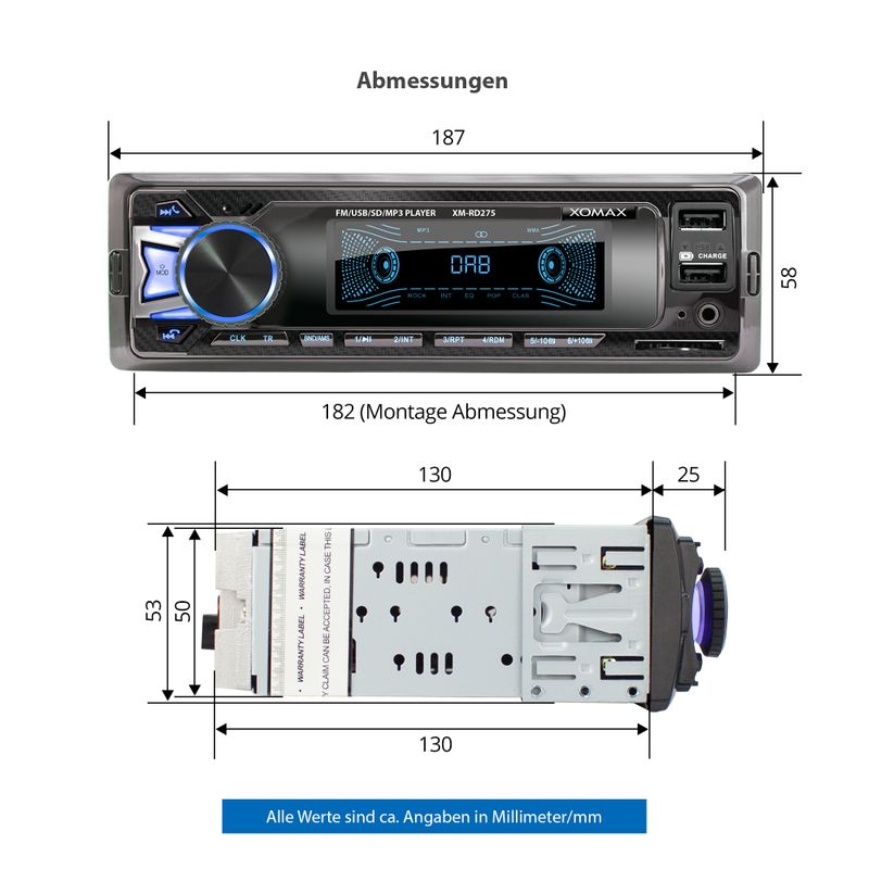 XOMAX XM-RD275: 1DIN, Autoradio mit DAB+, Bluetooth, USB, AUX IN, ohne Laufwerk (B-Ware) – Bild 6