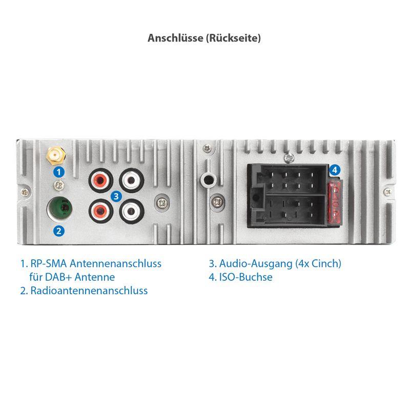 XOMAX XM-RD275: 1DIN, Autoradio mit DAB+, Bluetooth, USB, AUX IN, ohne Laufwerk (B-Ware) – Bild 7
