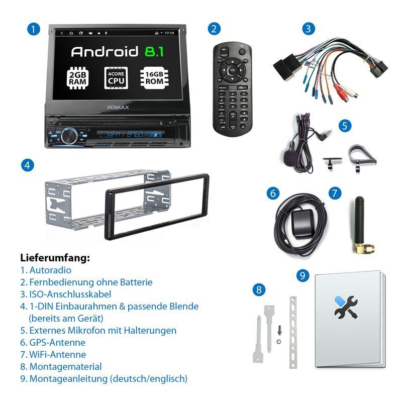 XOMAX XM-DA755: 1DIN Autoradio mit Android 8.1 Navi 7 Zoll Touchscreen Monitor, Bluetooth, DVD, CD, SD und USB  – Bild 9