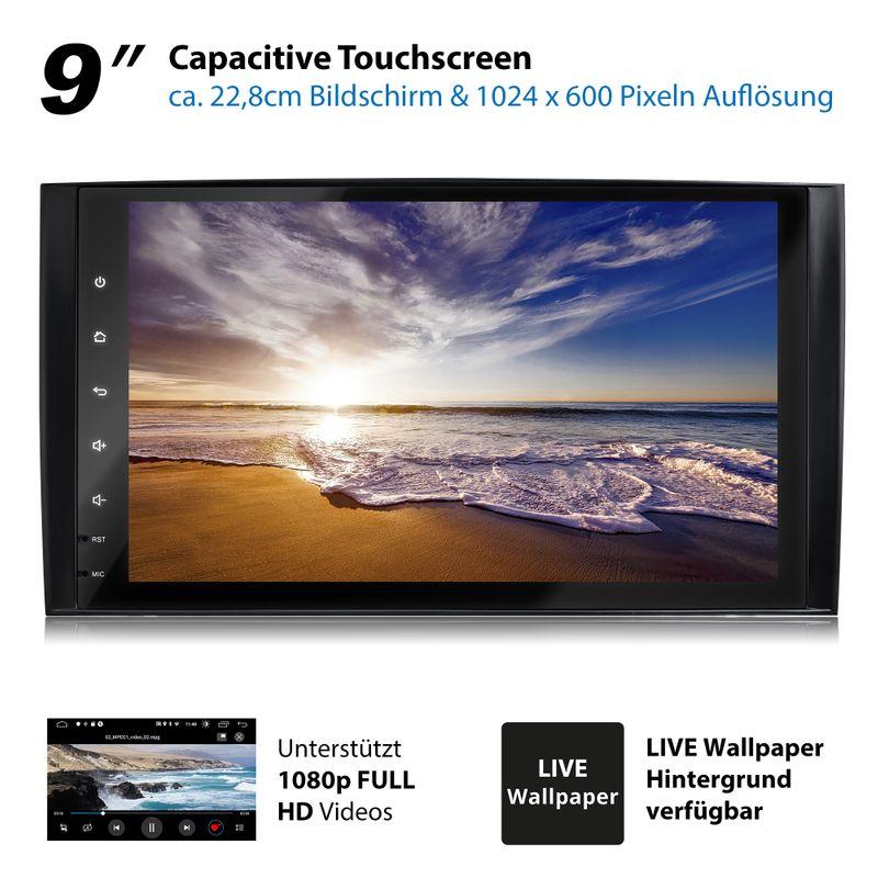 XOMAX XM-V11ZA: 2DIN Autoradio mit Android 10 Navi 9 Zoll Touchscreen Monitor, Bluetooth und USB (passend für Mercedes A/B-Klasse) – Bild 12