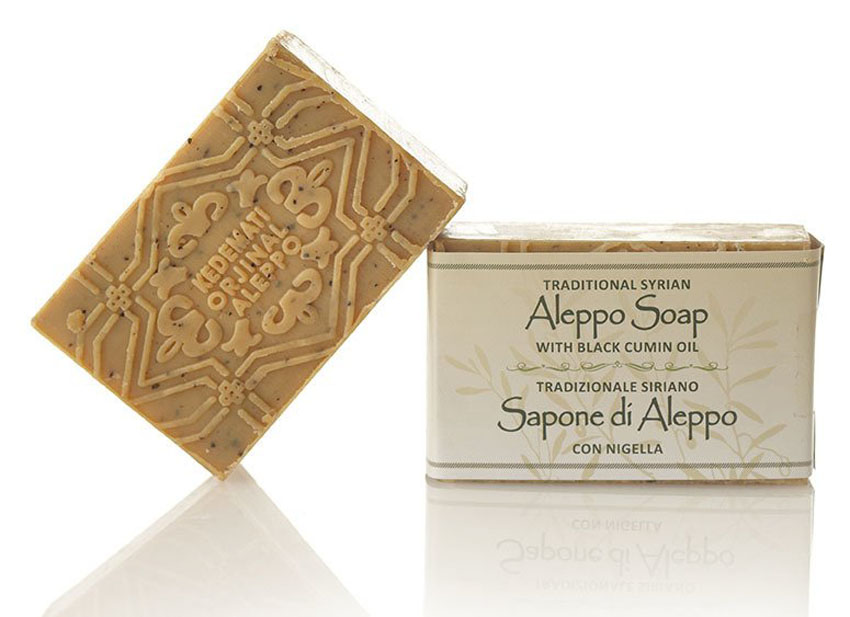 Aleppo Olivenölseife mit Schwarzkümmelöl Lorbeeröl Reine Naturseife Vegan 100 g