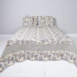 Clayre & Eef gesteppte Tagesdecke Plaid Quilt Bettüberwurf Landhausstil blau geblümt 180 x 260 cm 001