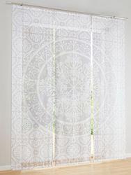 Heine home Schiebevorhang weiß/taupe Digitaldruck inkl. Klettband 001