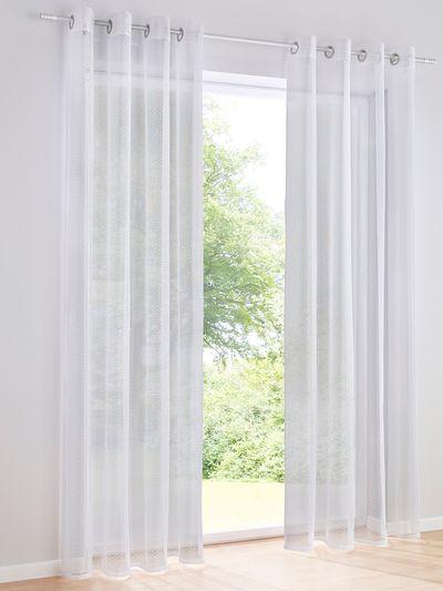 Heine Home 2er Set schlichter weißer Dekostore transparent kleine Noppen Ösen