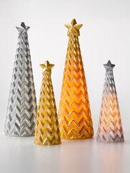 Heine Home 1 Weihnachtlicher LED-Dekobaum aus Echtwachs in gold Höhe ca. 21 cm