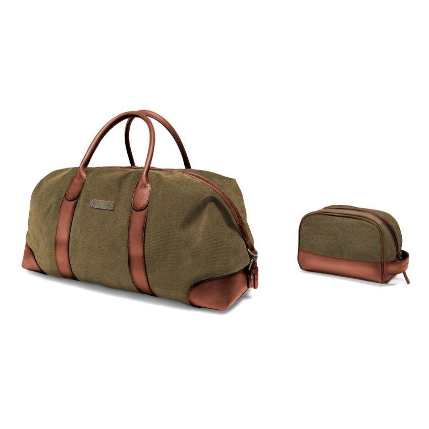 [Paket] Set aus Reisetasche N° 126 & Kulturbeutel N° 177 - Oliv-Grün