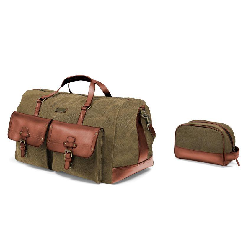 [Paket] Set aus Reisetasche N° 124 & Kulturbeutel N° 177 - Oliv-Grün
