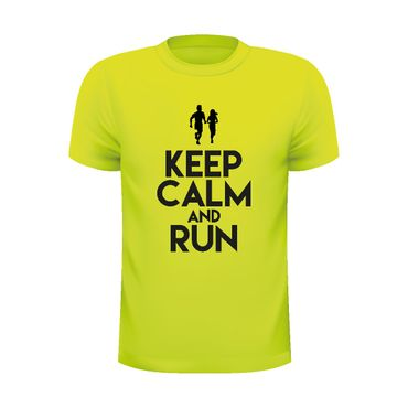 "Laufshirt ""KEEP CALM AND RUN"" Gelb – Bild 1"