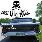 Autoaufkleber Totenkopf Skull  See U in Hell  Autotattoo günstig