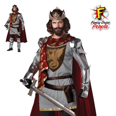 Details about Mens King Arthur Warrior Costume Adults Knight Historical  Fancy Dress Outfit